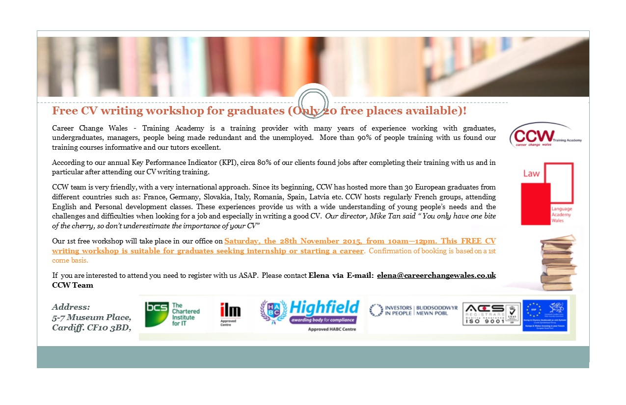 Free CV Writing Workshop for Graduates