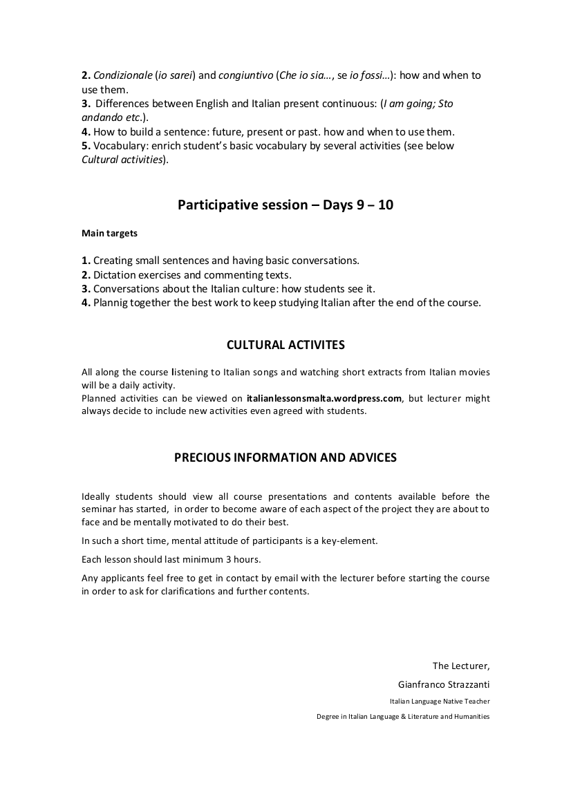 italian seminar coursework