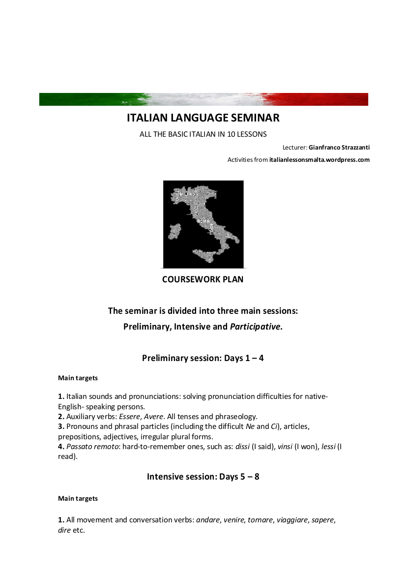 Italian Language Seminar - Coursework