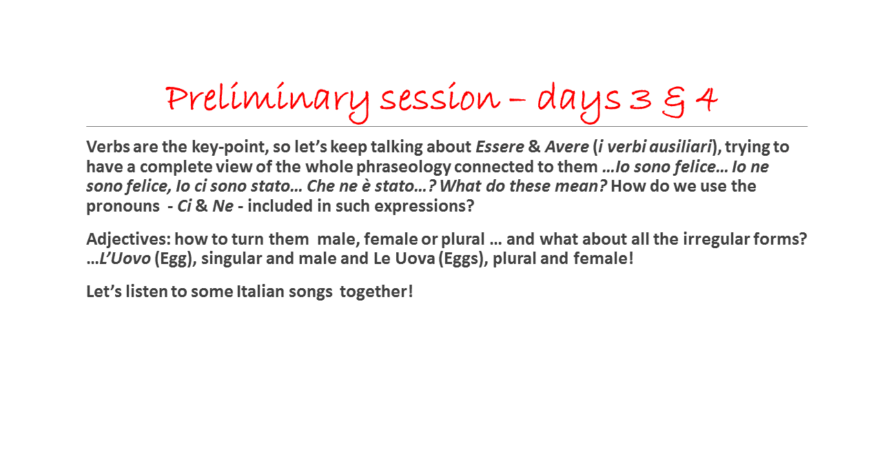 Italian training description