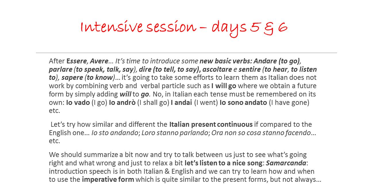 Italian training description